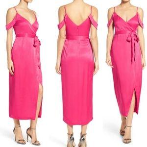 Bardot women's pink leah satin midi wrap dress